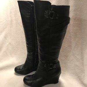 Black wedge vegan tall boots